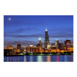 De horizon van Chicago van het Planetarium Adler Perfect Poster