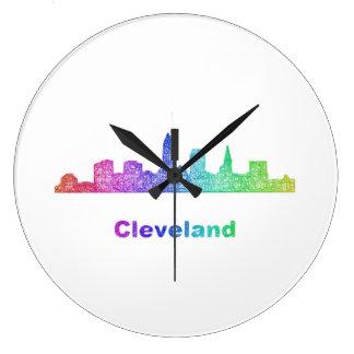 De horizon van Cleveland van de regenboog Ronde Klok Large
