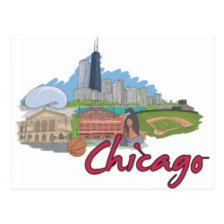 De Horizon van de Cartoon van Chicago Briefkaart