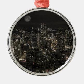 De Horizon van de Nacht van de Stad van New York Zilverkleurig Rond Ornament