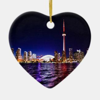 De Horizon van de Nacht van Toronto Keramisch Hart Ornament