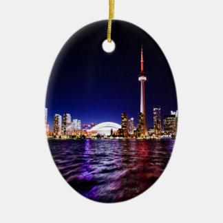 De Horizon van de Nacht van Toronto Keramisch Ovaal Ornament