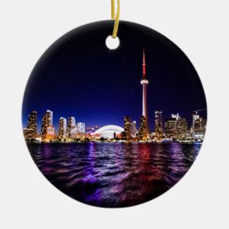 De Horizon van de Nacht van Toronto Rond Keramisch Ornament