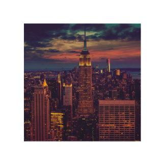 De Horizon van de Schemer van de Stad van New York Hout Afdruk