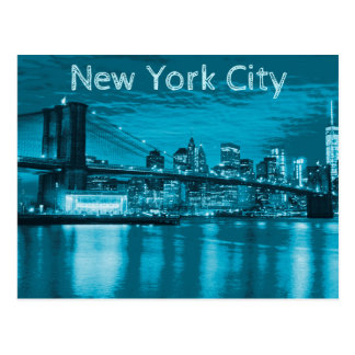 De Horizon van de Stad van New York in Blauw Briefkaart