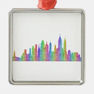 De horizon van de Stad van New York Zilverkleurig Vierkant Ornament