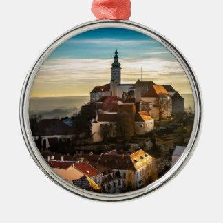 De Horizon van de Tsjechische Republiek Zilverkleurig Rond Ornament