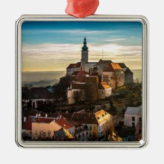 De Horizon van de Tsjechische Republiek Zilverkleurig Vierkant Ornament