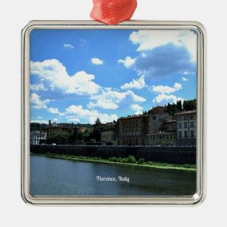 De horizon van Florence, Italië Zilverkleurig Vierkant Ornament