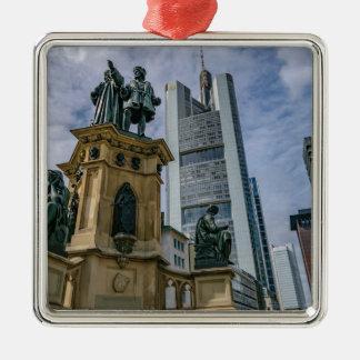 De Horizon van Frankfurt Zilverkleurig Vierkant Ornament