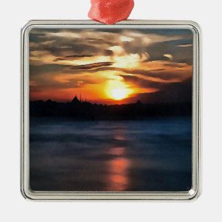 De Horizon van Istanboel Zilverkleurig Vierkant Ornament