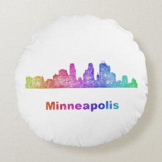 De horizon van Minneapolis van de regenboog Rond Kussen