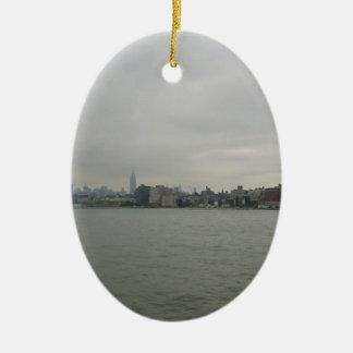 De Horizon van New York Keramisch Ovaal Ornament