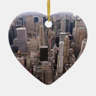 De Horizon van New York Keramisch Hart Ornament