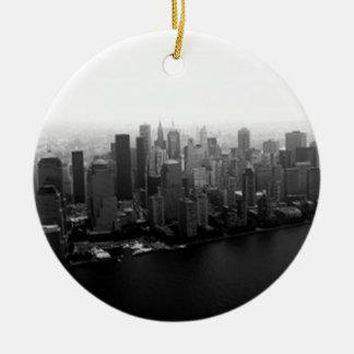 De Horizon van New York Rond Keramisch Ornament