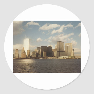 De Horizon van New York vóór 9/11 Tweelingtorens Ronde Sticker