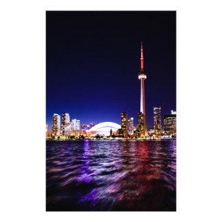 De Horizon van Toronto bij Nacht Gpersonaliseerd Briefpapier