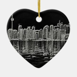 De Horizon van Toronto in Zwart-wit Keramisch Hart Ornament