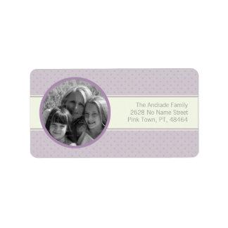 De Horizontale Witte Streep van de paarse Foto van Etiket