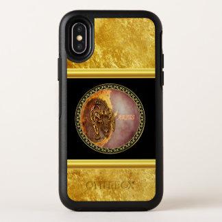 De Horoscoop van de Ram met gouden folietextuur OtterBox Symmetry iPhone X Hoesje
