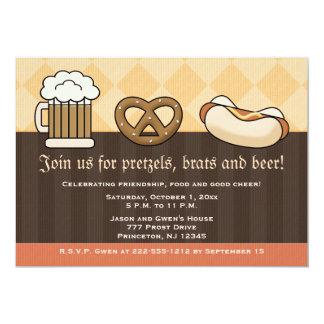 De Hotdog van de Pretzel van de Mok van het Bier 12,7x17,8 Uitnodiging Kaart