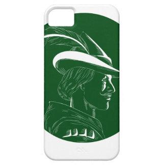 De Houtdruk van Robin Hood Side Profile Circle Barely There iPhone 5 Hoesje