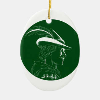 De Houtdruk van Robin Hood Side Profile Circle Keramisch Ovaal Ornament