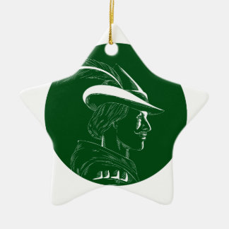 De Houtdruk van Robin Hood Side Profile Circle Keramisch Ster Ornament