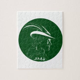 De Houtdruk van Robin Hood Side Profile Circle Puzzel