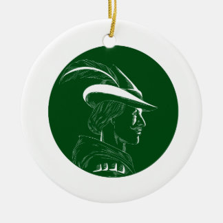 De Houtdruk van Robin Hood Side Profile Circle Rond Keramisch Ornament