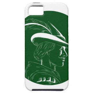 De Houtdruk van Robin Hood Side Profile Circle Tough iPhone 5 Hoesje