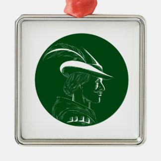 De Houtdruk van Robin Hood Side Profile Circle Zilverkleurig Vierkant Ornament