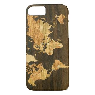 De houten Kaart van de Wereld iPhone 7 Hoesje