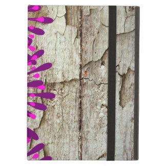 De Houten Roze Paarse Bloemen van de rustieke Schu iPad Air Hoesje