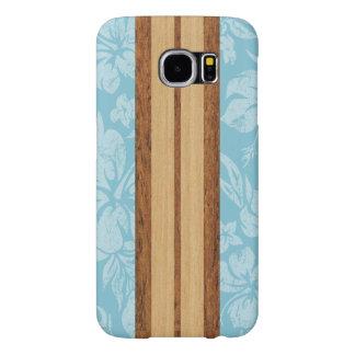De Houten Surfplank Hawaiiaan van Faux van het Samsung Galaxy S6 Hoesje