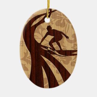 De Houten Surfplank Surfer van Koa Keramisch Ovaal Ornament