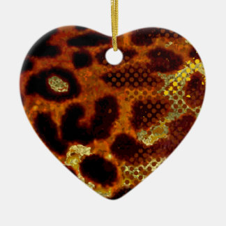 De huid van de luipaard keramisch hart ornament