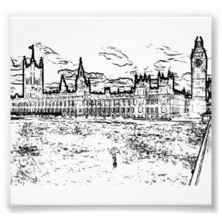 De huizen van het Parlement, Westminster, Londen Foto Afdruk