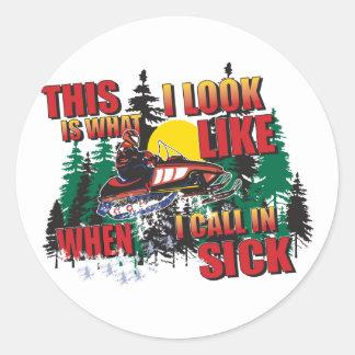 De Humor /Calling van Snowmobiling in Zieken Ronde Sticker