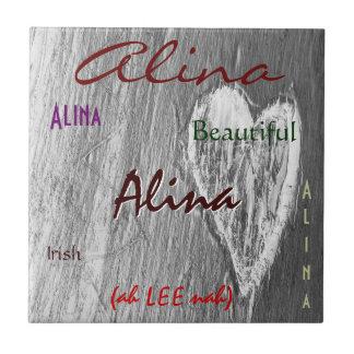 De Ierse Betekenis van de Naam van Alina met Licht Tegeltje Vierkant Small