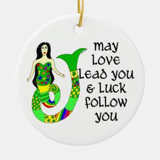 De Ierse Meermin van de liefde & van het Geluk Rond Keramisch Ornament