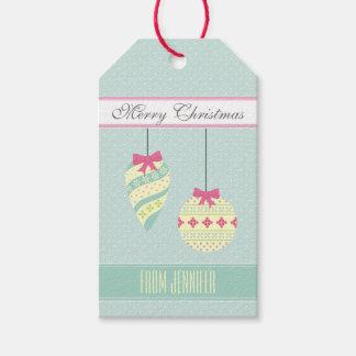 De ijzige Blauwe Grafische Ornamenten van Kerstmis Cadeaulabel