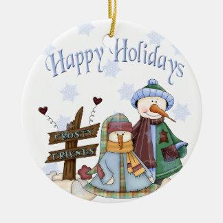 De ijzige Vrienden sieren Rond Keramisch Ornament