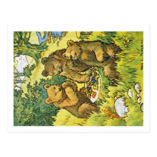 De illustratie die drie afschilderen die draagt briefkaart