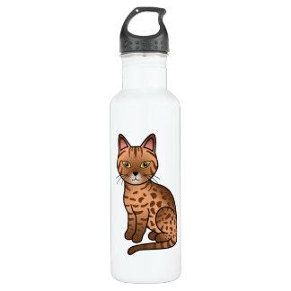 De Illustratie van de Kat van het Ras van Ocicat Waterfles