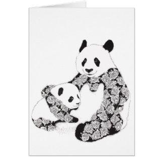 De Illustratie van de moeder en van de Panda van Briefkaarten 0
