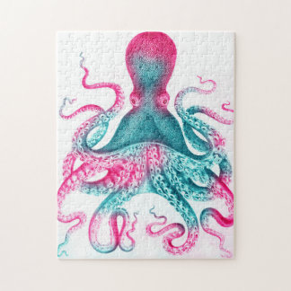 De illustratie van de octopus - wijnoogst - kraken legpuzzel