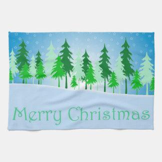 De illustratie van kerstbomen en van sterren keukenhanddoek