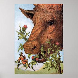 """De Illustratie van """"Tom Thumb en van de Koe"""" Poster"""