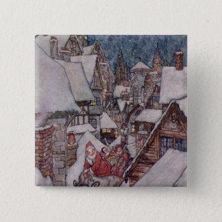 De illustraties van Kerstmis Vierkante Button 5,1 Cm